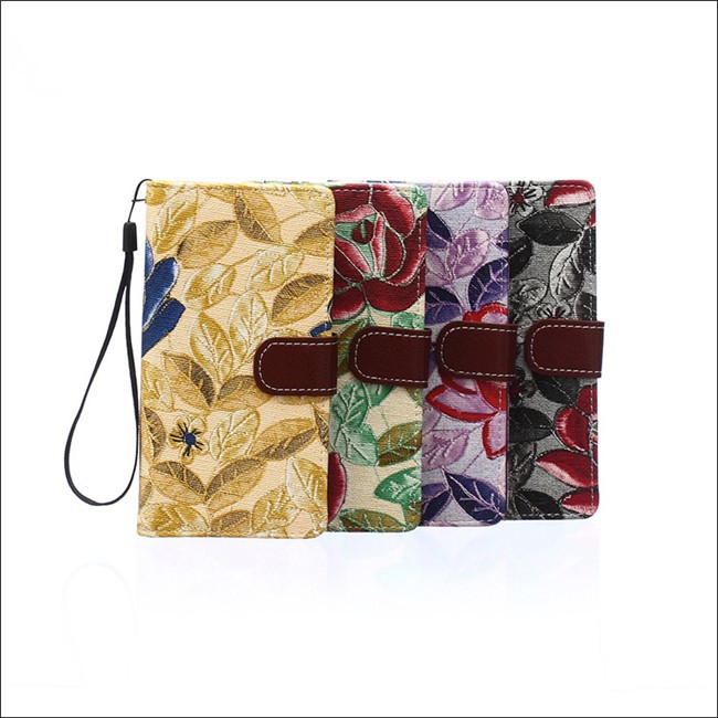 Floral Mobile Phone PU Leather Wallet Cases For Sony Xperia Z4