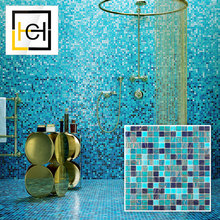 Classic Color Variation Mosaic Tiles For Bathroom Decor And Toilet Golden Wave Crystal Deep Dark Blue Colors Glass Tile Mosaic