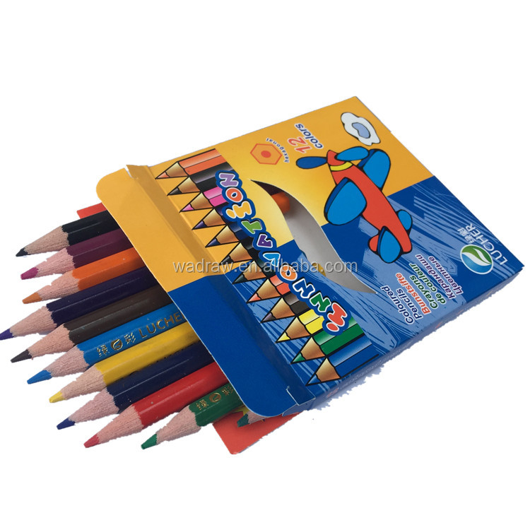 Cheap price 3.5'' hexagnal plastic mini 12 coloring pencils