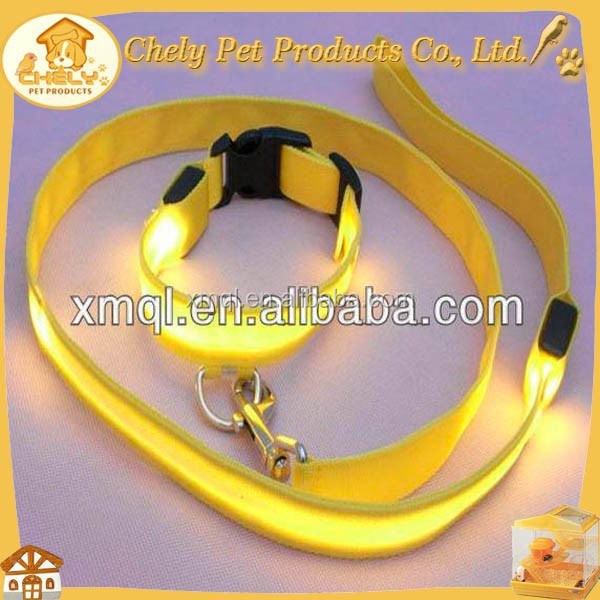 Shining Yellow LED Pet Collar And Leash With Rechargeable Battery Pet Collars & Leashes