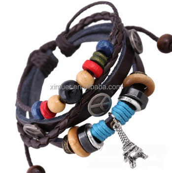 Fashion genuine leather beaded peace symbol bracelet