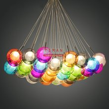 Unique color glass ball pendant light G4 led pendant light Contemporary creative christma bar hotel pendant lamp glass lamp