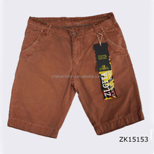 2016 100% cotton plain weave elastic waist casual shorts for men/brown bermuda shorts