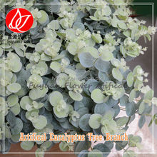 Best sale Cheapest 20 heads branches artificial eucalyptus bush green leaves for flower arrangement and garden decoration