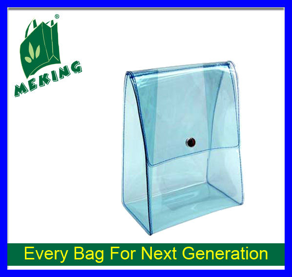 Cosmetic transparent plastic bag Stand up clear PVC cosmetic bag with button Promotional giveaway pocket bolsa organza