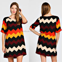 women summer COLORBLOCK CHEVRON PRINT 1/2 ROLL-TAB SLEEVE CHIFFON SHIFT DRESS