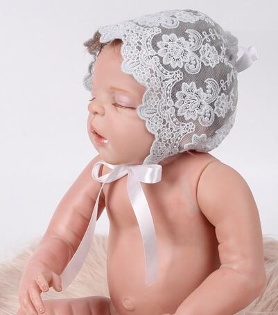 Ivory Grey Pink Embroidered Lace Bonnet