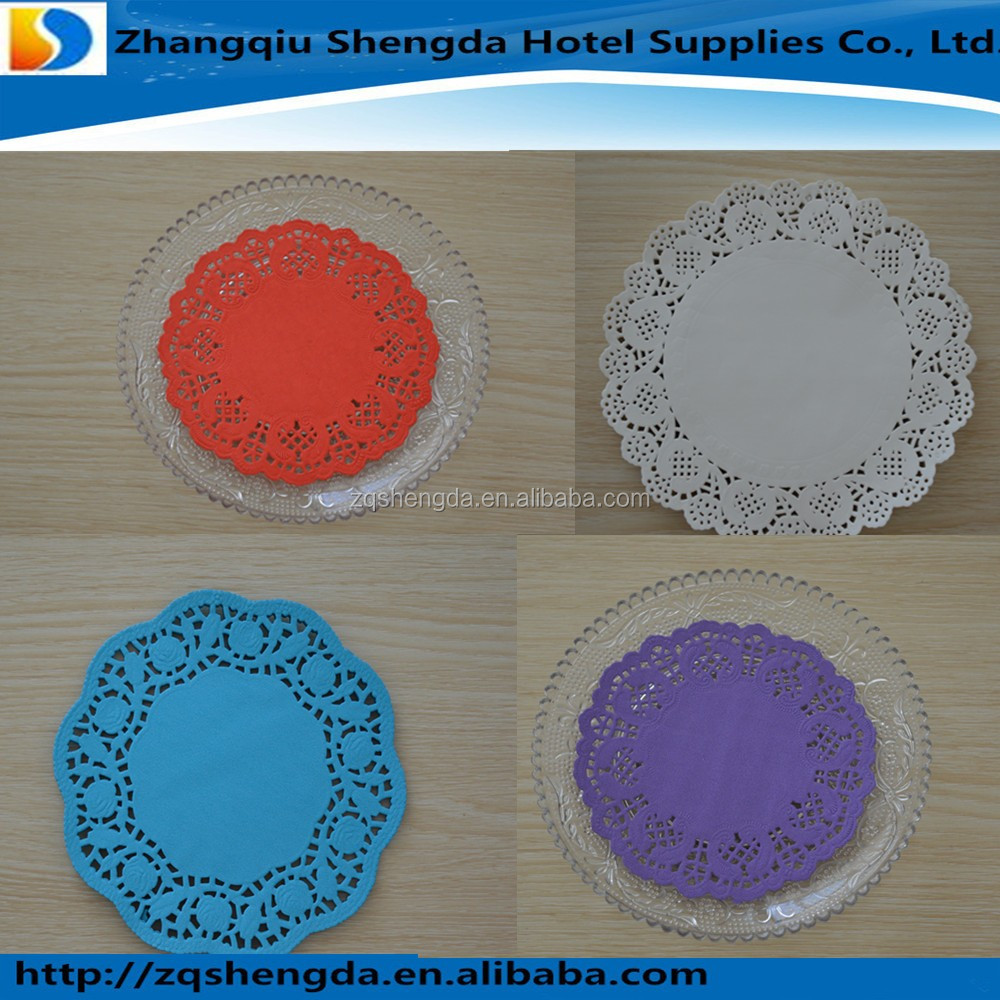 Disposable Round Plain Colored Lace Paper Doily for Party