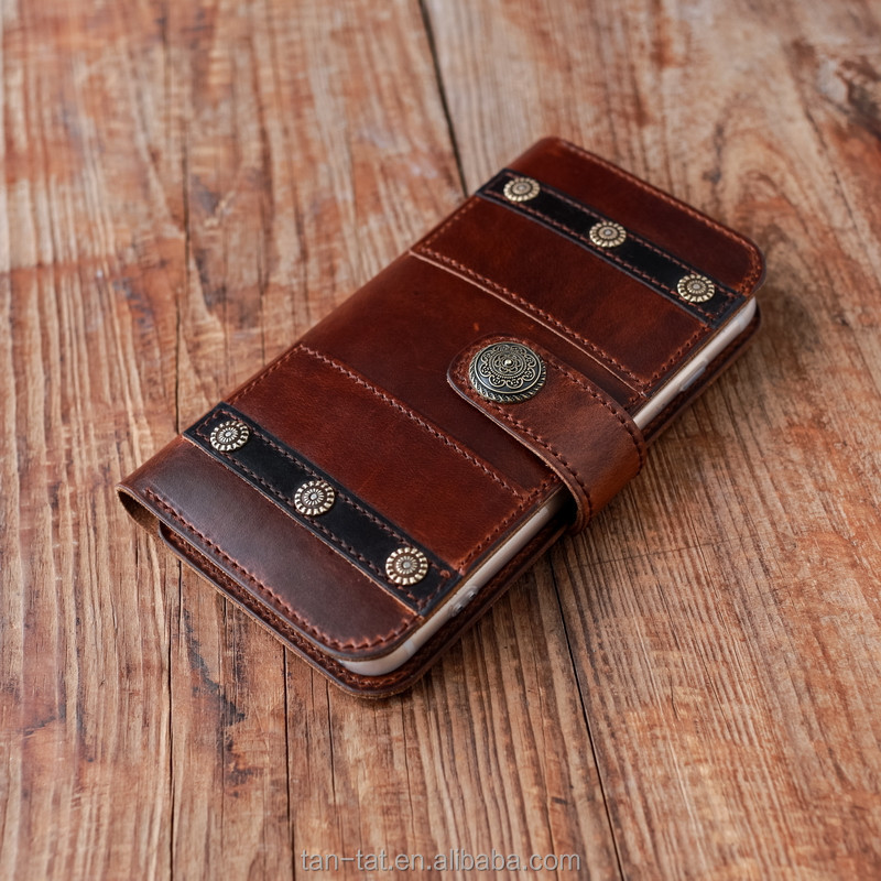 Crazy Horse Brown Leather Wallet Phone Cover