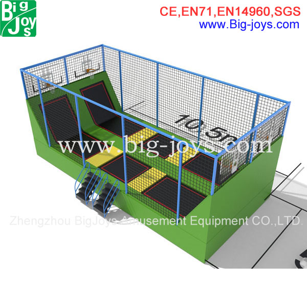 Fitness Exercise Equipment Trampoline park with Safety Net and Ladder