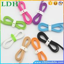 Multifunctional 2 in 1 colorful flat micro usb cables data line charging cord case for Iphone 5s 5 6 samsung galaxy s2 htc zte