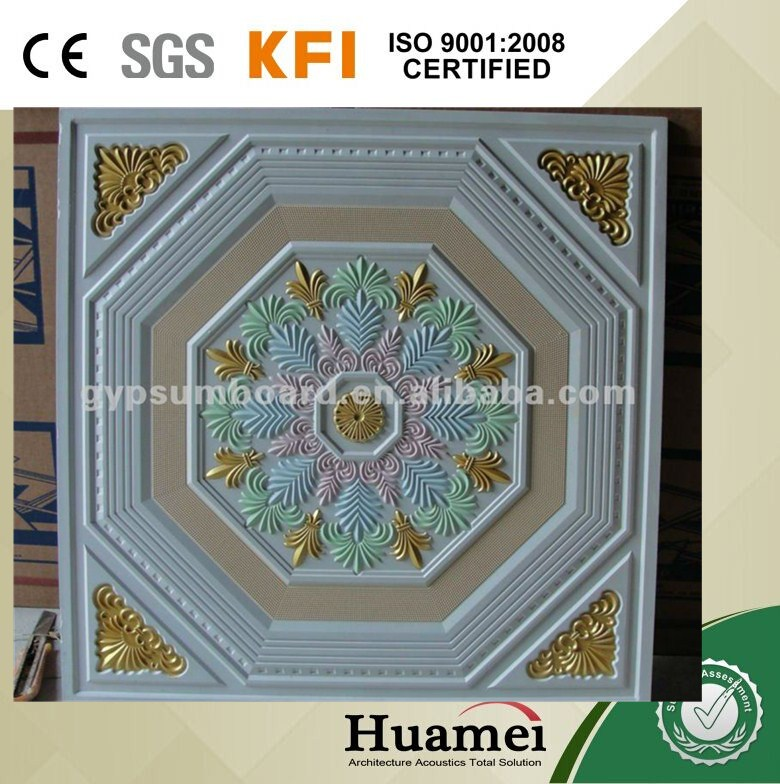 newest pop designs decorative gypsum board false ceiling 9.5mm thickness CE/SGS/ISO certificated factory/plant sale