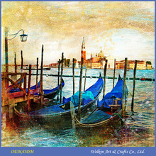 LED canvas oil painting boats cheap china factory price