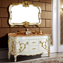 Luxury Euro Style Antique White Bathroom Vanity with Gold Foil,Wooden Bathroom Furniture for Villa WTS601