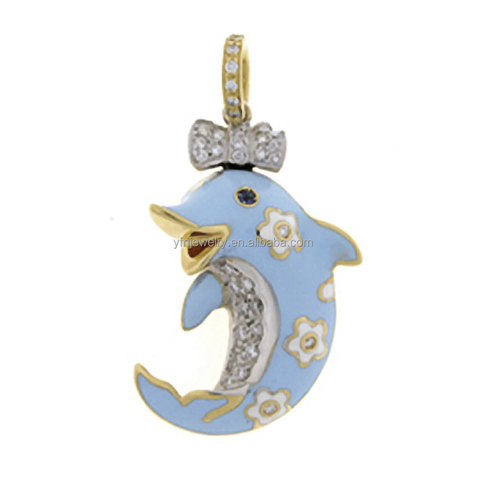 18K Yellow Gold Light Blue Dolphin Shemale Charm Jewelry in Silver