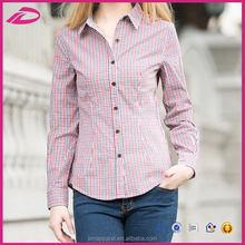 Autumn Plaid tops, women long sleeve single-breasted turn down collar slim blouse