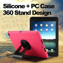 360 Stand Design Silicone PC 3 in 1 Case for Ipad 2 3 4,for ipad air 1 2 case,for ipad mini 1 2 3 4