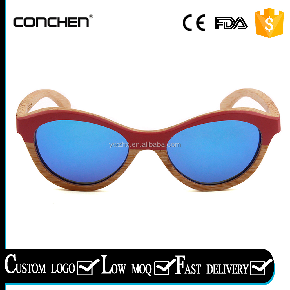 2017 custom wood bamboo women style italian design polarized sunglasses mirror lens