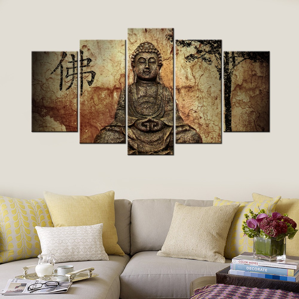 Learn More About This Product. Chinese Buddha Canvas Painting Solemn Joss  Statue Canvas Prints Modern Buddhist Art Decor Living Room ...