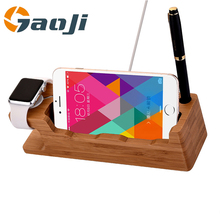 4-in-1 Design Bamboo Stand Charging Dock Natural Wood Platform station for Apple
