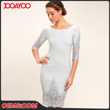 Women Elegant Three Quarter Sleeve Blue Grey Lace Bodycon Midi Dress