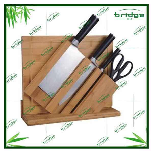 2015 wholesale new design bamboo knife rack knife rest with stainless steel knifes and one pc cutting board knife rack