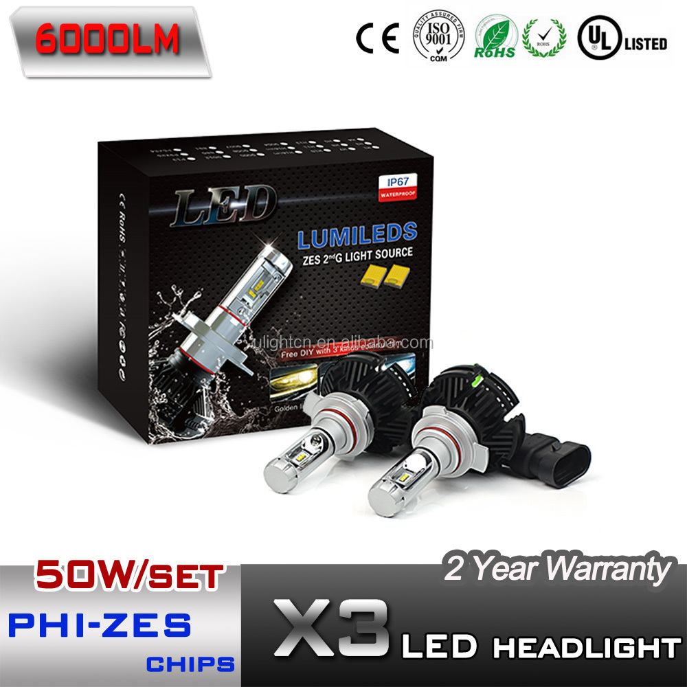 Newest X3 LED headlight with PHI-ZES chips 50W 6000LM no fan all in one design H4 H7 H11 9005 9006 9012 hir2 LED headlight kit