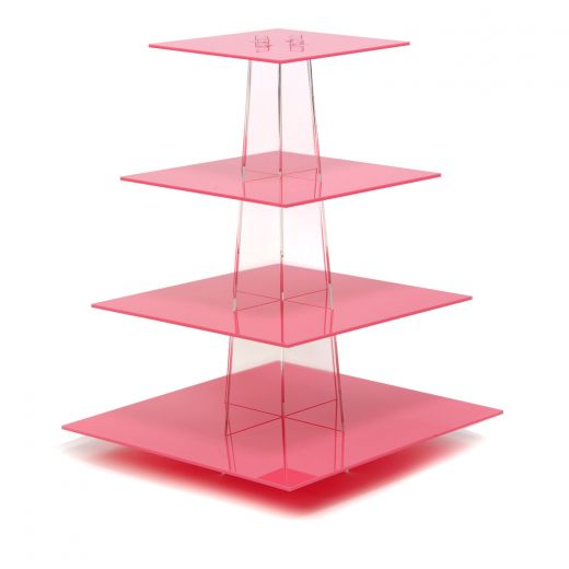 Clear square 2-4 tiers acrylic cupcake stand/ pink plexiglass wedding cake diplay stands/perspex cupcake stand