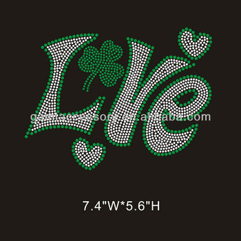 Love Saint Patrick hot fix rhinestone iron on transfer design for T-shirt