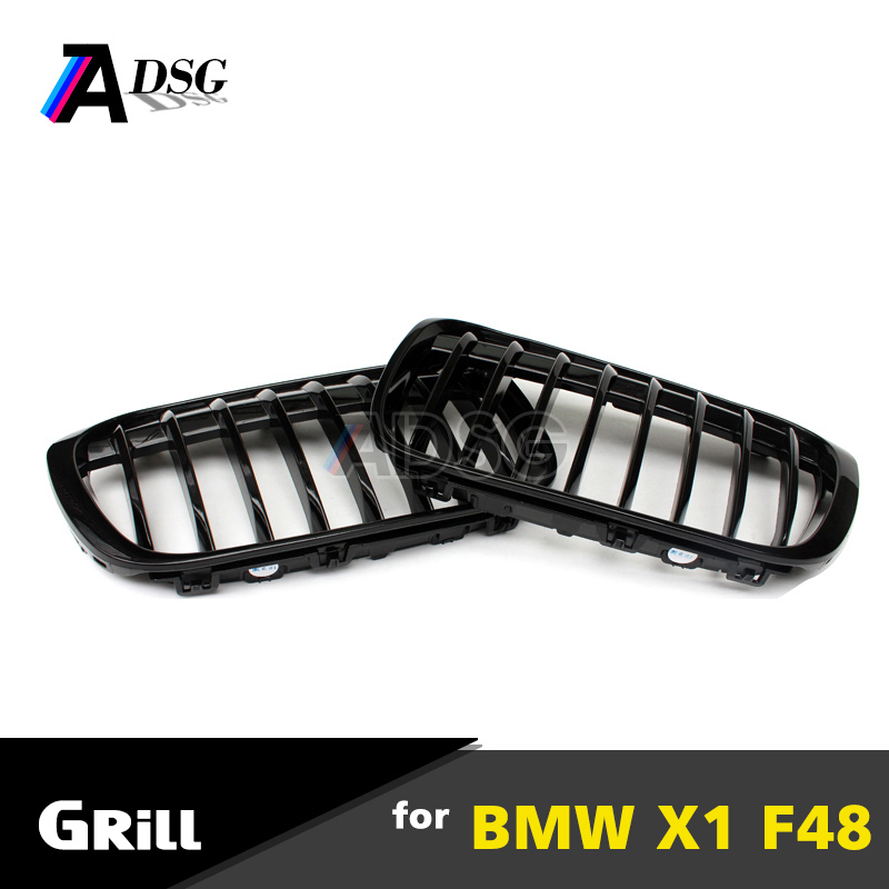 X1 F48 single slat gloss black front kidney grill grille for BMW 2015+ new X1 F48 xDrive20i xDrive 25i