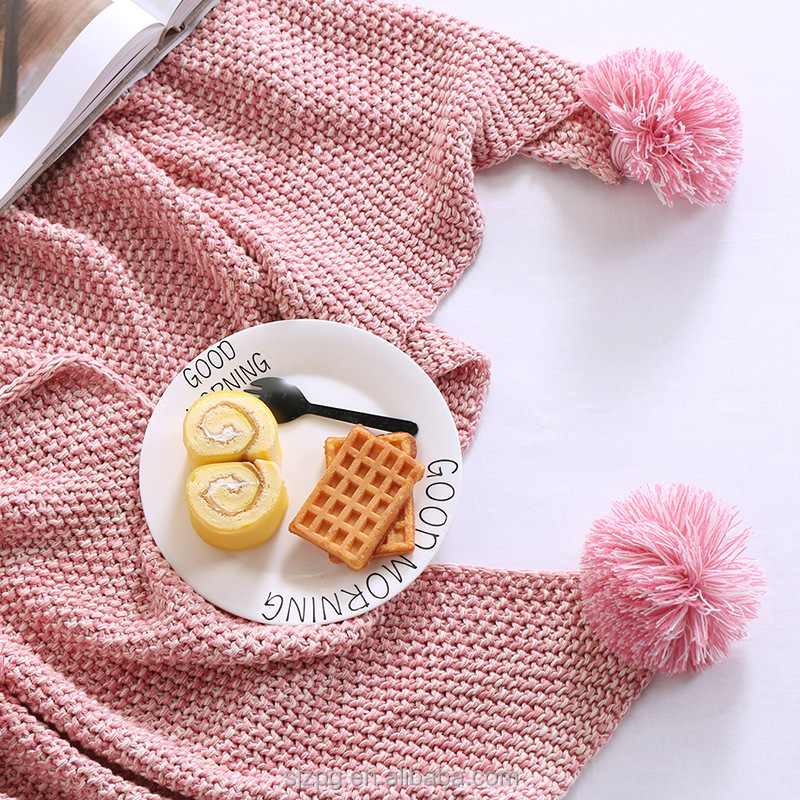 China factory cheap high quality pure handmade pom pom blanket refrigerator cover