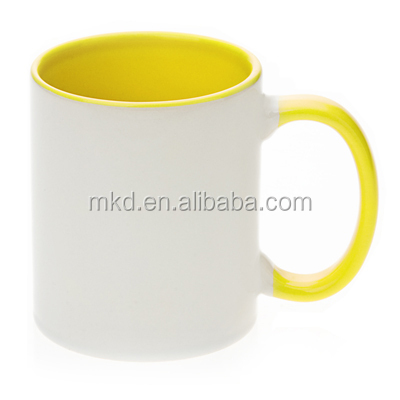 MEIKEDA 11oz Yellow Inside&Handle blank Sublimation Photo Mug
