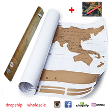 Dropship Travel World Map Scratch Off Foil Layer Coating Poster Journal Scratch Map