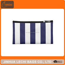 Navy Blue and White Extra Large Stripe Pattern Cosmetic Bags