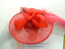 Red Fancy Sinamay Fascinators With Big Feather For Wedding Wholesale T121