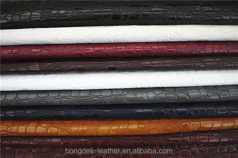 Crocodile emboss pu leather fabric for shoes and bags ,TWO TONE BONDED SYNTHETIC LEATHER ,leather manufacturer in China Wenzhou