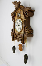 popular home decor wall sticker clock Wholesale wooden pendulum clocks wall small cuckoo clocks