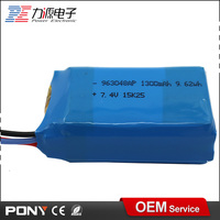 hot sale flexible rechargeable 7.4v 1300mah waterproof lithium polymer battery pack
