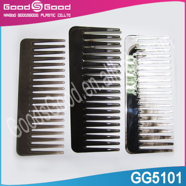 Black flat wide tooth plastic hair top comb,easy to carry gift comb