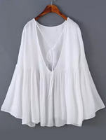 Blouses Tops fashion women girl clothes Bell Sleeve Open Back White Top