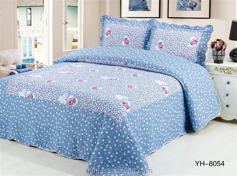 Rose Heart in Shining Blue Patchwork Bedding Sets / Patchwork Quilts / Comforter Sets