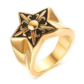 Selling product Titanium steel five pointed star unique carving cross patterns gold rings