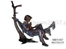 Boy Read Book In Cradle (Bronze Sculpture & Bronze Statue)