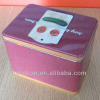 hinged rectangular tin can/tin box for candy/cookie/biscuit