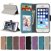 Fashion Retro Scrub PU Leather Case For iphone 4S Cover Cases Card Slots Wallet