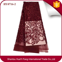 Hot selling african tulle lace fabric with sequins and beads wholesale for party HY0716-2