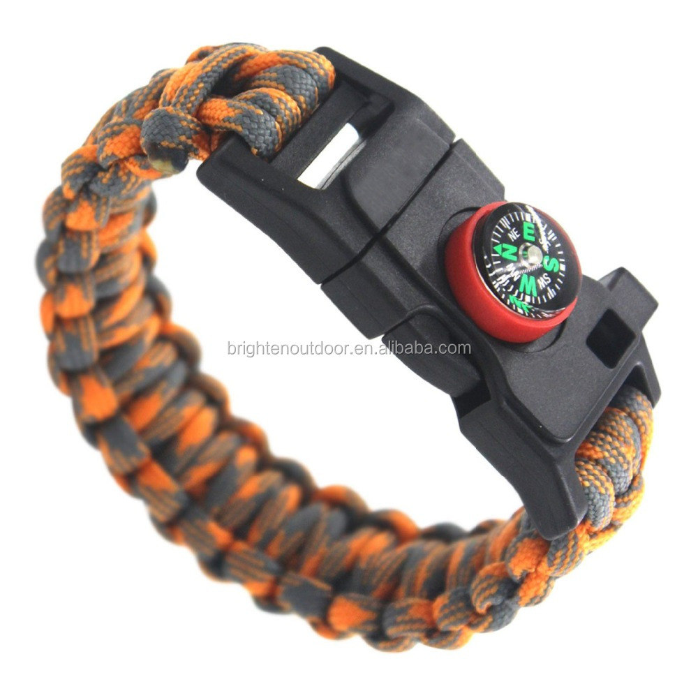Firestarter Plastic Whistle Survival 550 paracord bracelet