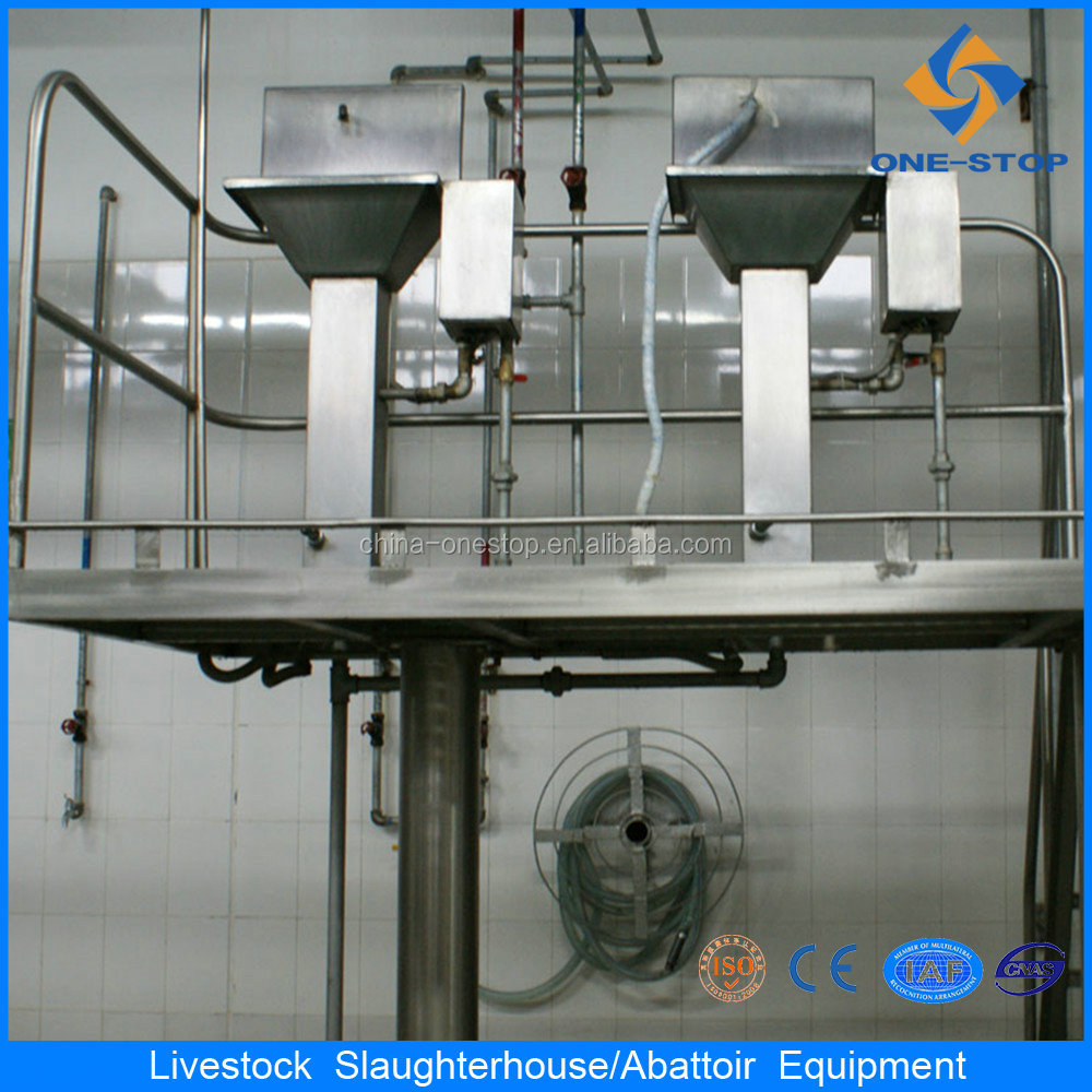 stainless steel hands washing sink and knife sterilizer in pig slaughterhouse