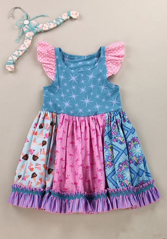 Wholesale Baby girls remake Boutique Knit cotton Fancy Floral Ruffle Dresses Kids back to school summer One Piece Long Dress