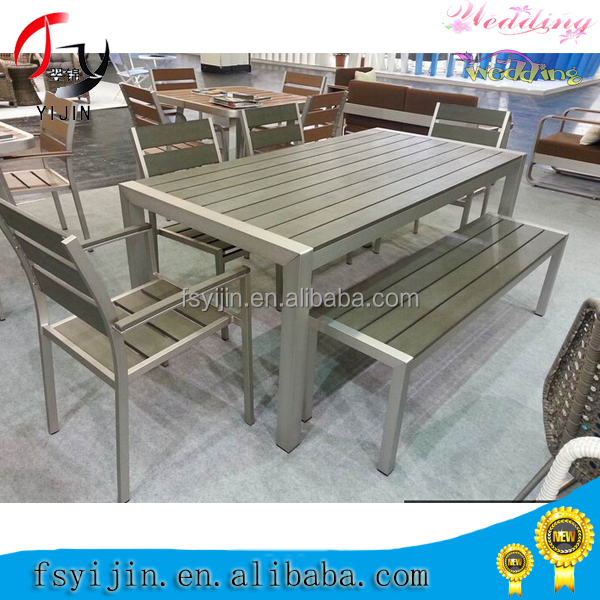 Wholesale Garden Design Iron Frame Teak Bench Set Furniture